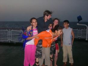 Having a good time crossing the Caspian Sea , Azerbaijan