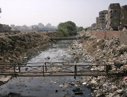 Filthy rivers Birqash, Egypt