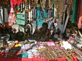 street shops, Tibet. Backpacks and Bra Straps