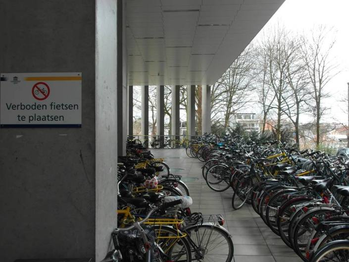 I think a simple translation is enough for this caption.  Verboden fietsen the plaatsen = Forbidden to Place Bike