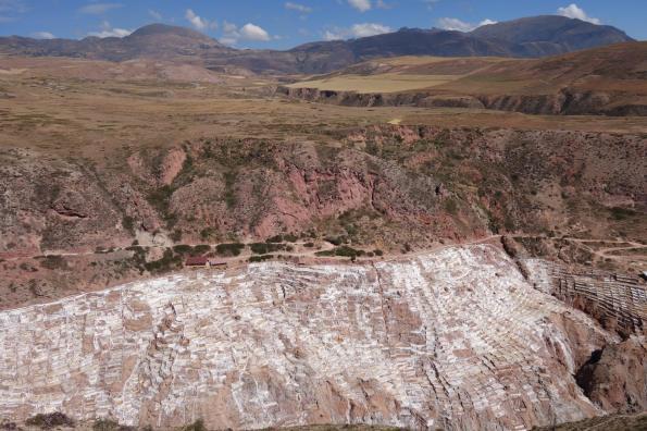 view over ancient salt terraces of Maras, peru