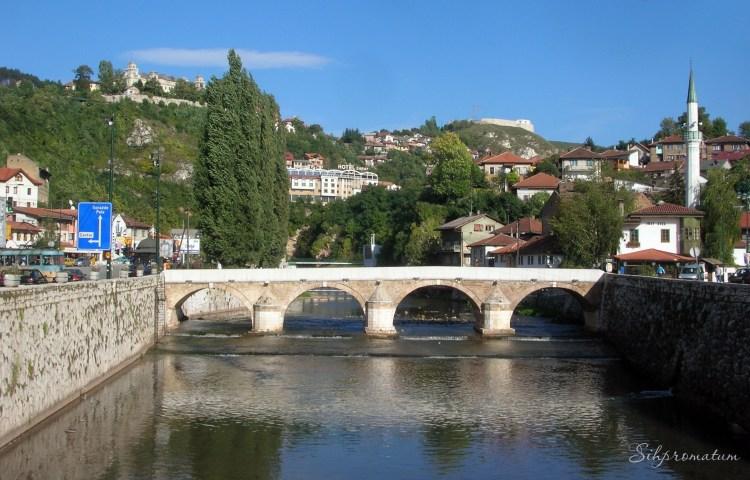 Miljacka River With Bridge