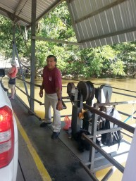 This little ferry is powered by turning the crank