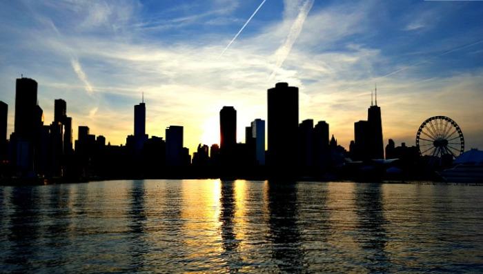 Chicago Skyline at Sunset, USA
