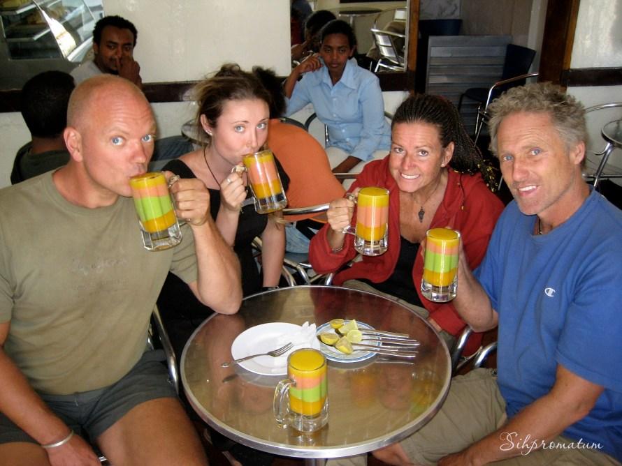 Enjoying the best fruit drinks. Gondar