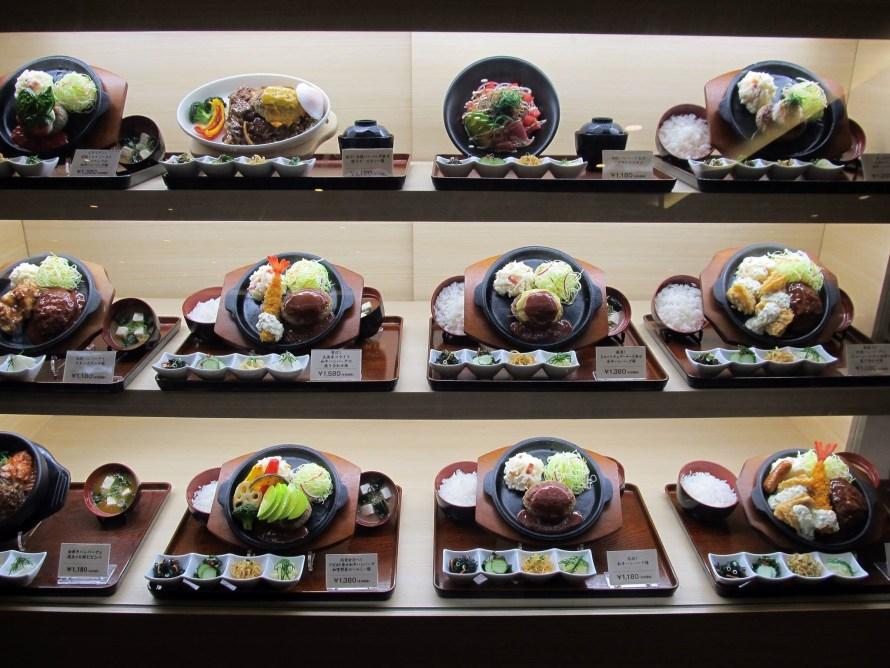 fake food displays outside restaurants are common  Japan