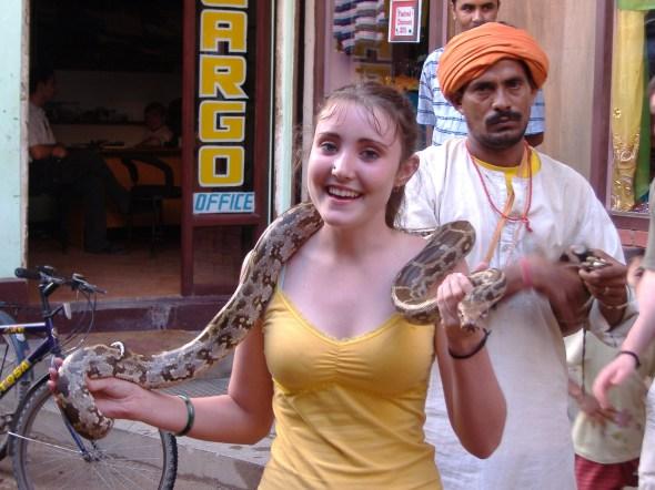 Savannah loves snakes