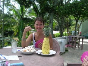 Breakfast of fresh pineapple and coconut - Ella