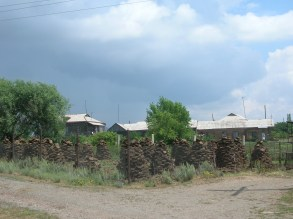 Stacks of cow pies aka firewood, Armenia