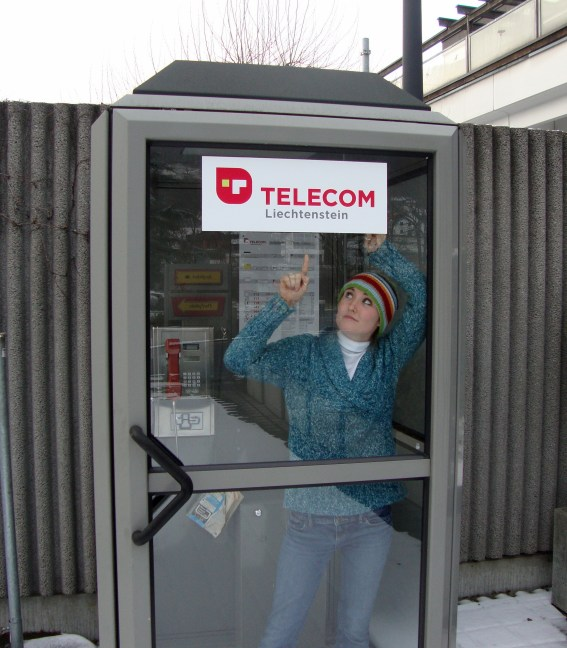 Savannah in the telephone booth
