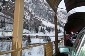 Car train through the mountains