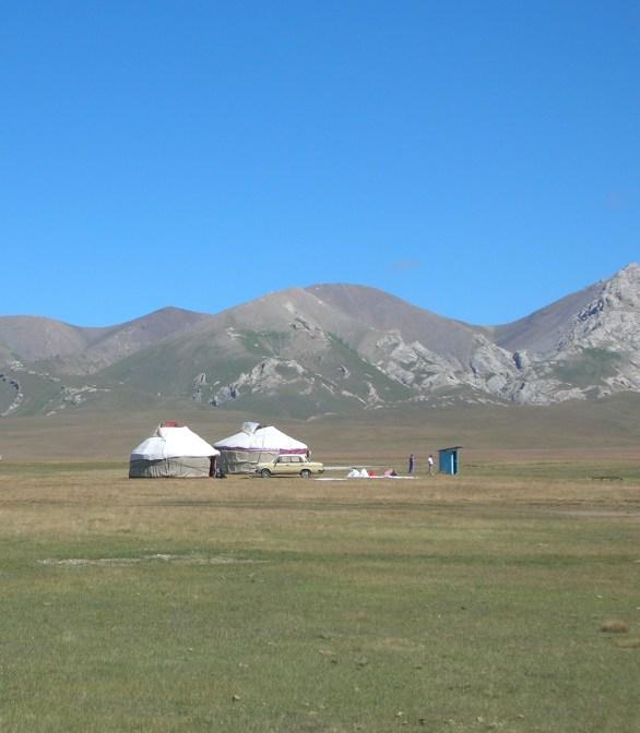 yurt in Kyrgyzstan, backpacks and bra straps.