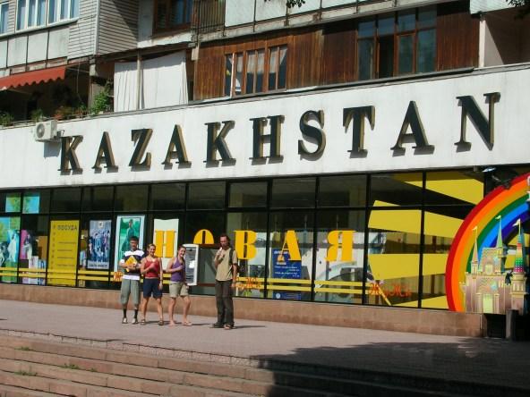 Kazakhstan. backpacks and bra straps.