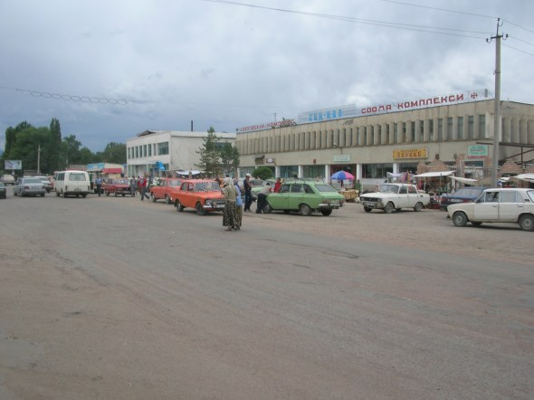bus station, Kyrgyzstan. Backpacks and Bra Straps