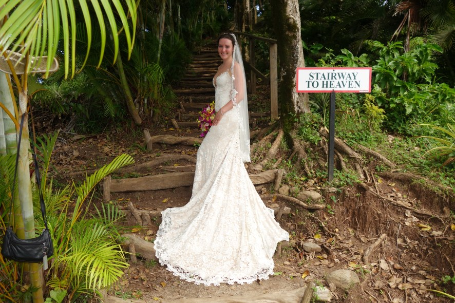 Why not go hiking to the lookout in a wedding dress.