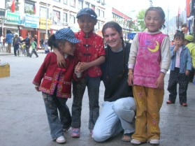 My sister, Bree, making friends with children in Lhasa, Tibet.