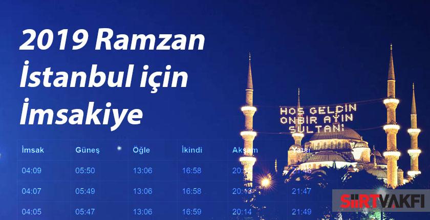2019 Ramazan İstanbul için İmsakiye