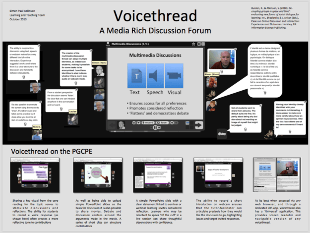 Atkinson, S.P. (2013, November) Voicethread: A Media Rich Discussion Forum. Poster session presented Digital Learning day at at BPP University, London.