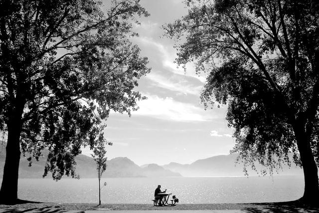 Figure sitting alone by a lake