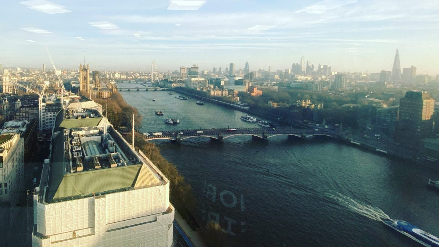 View from WorldFirst desk on 23rd floor at Millbank Tower