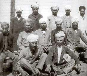"""Group of sikh immigrants, Angel Island, 1910 courtesy of California State Parks"" (from: sikhfoundation.org)"