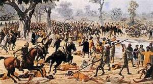 Sikhs being beaten with long batons at Guru ka Bagh
