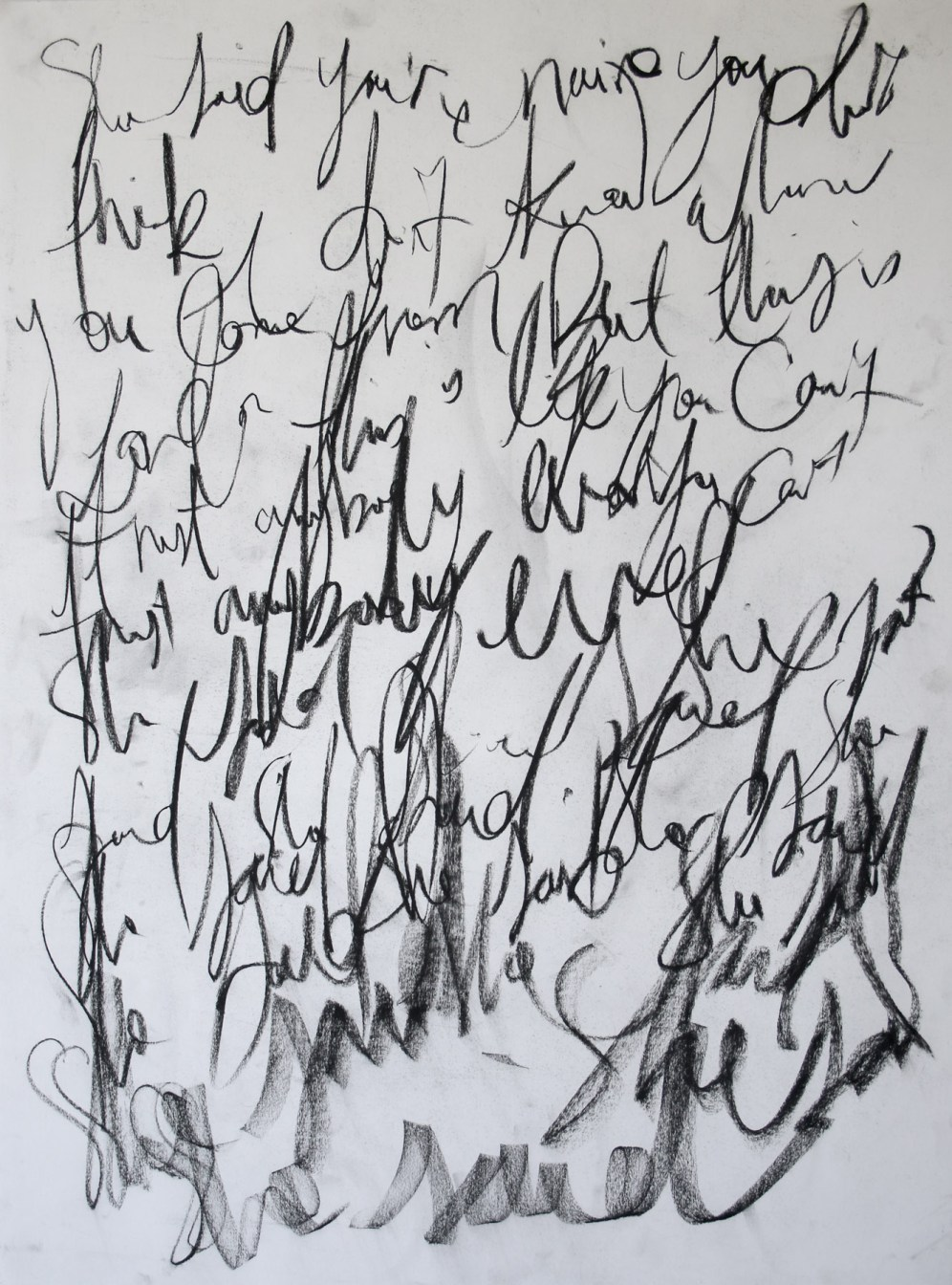 She Said, 2014, charcoal on stonehenge paper, 76 x 56cm