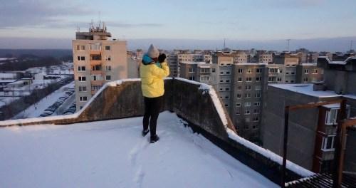 Artist Marija Nemcenko working in Silainiai, January 2016