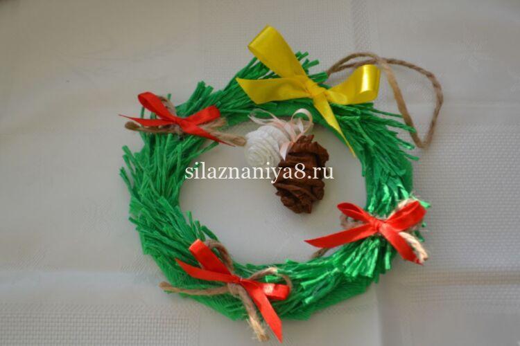 Мастер класс по изготовлению новогоднего венка из бумаги и картона