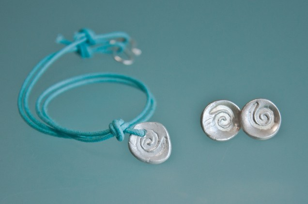 silver spiral necklace and earring set