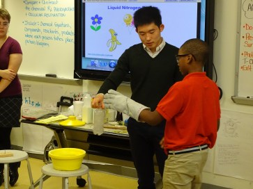 Graduate student Suwon facilitating liquefying air demo