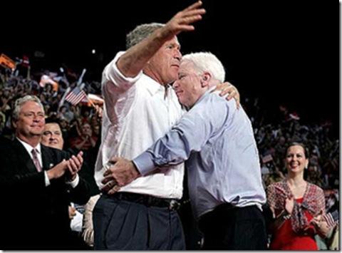 McCain hugs Bush