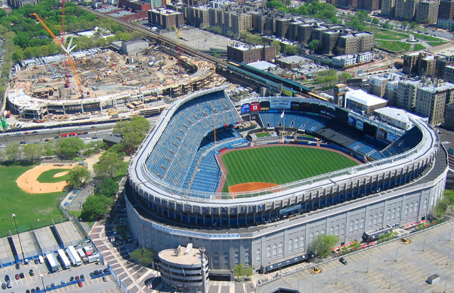 The old and new Yankee Stadiums
