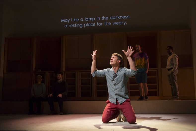 For theatergoers who don't know ASL, the performance is translated into text projected above the stage. (Courtesy The Huntington Theatre Company)