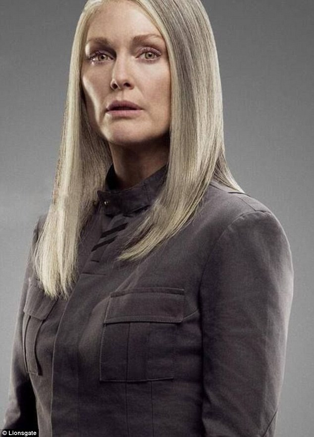 Shades of grey: Julianne previously showed off grey locks as she starred as President Alma Coin in the final chapters of The Hunger Games saga (pictured)