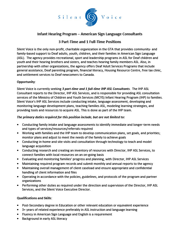 IHP ASL Services Job Posting - Page 1