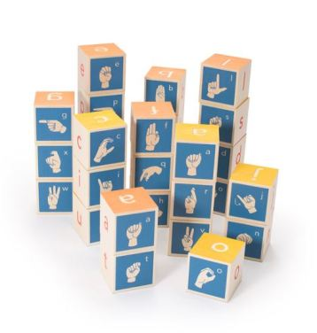 wooden blocks with fingerspelled letters on each side