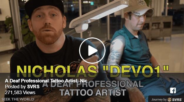 "A Deaf Professional Tattoo Artist: Nicholas ""DEVO1"" Rogalski Image"