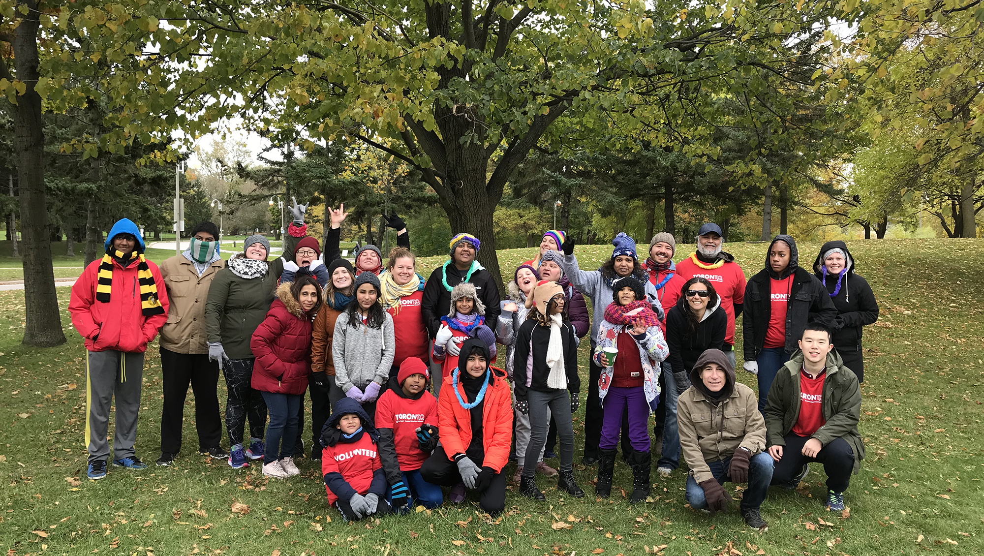 large group of volunteers for Scotia Bank Marathon
