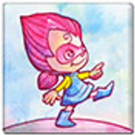 a pink haired cartoon child with a pink eye mask.