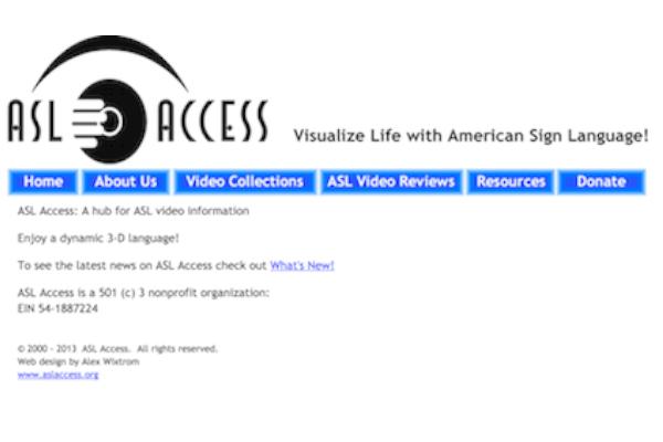 Screenshot of ASL Access homepage website