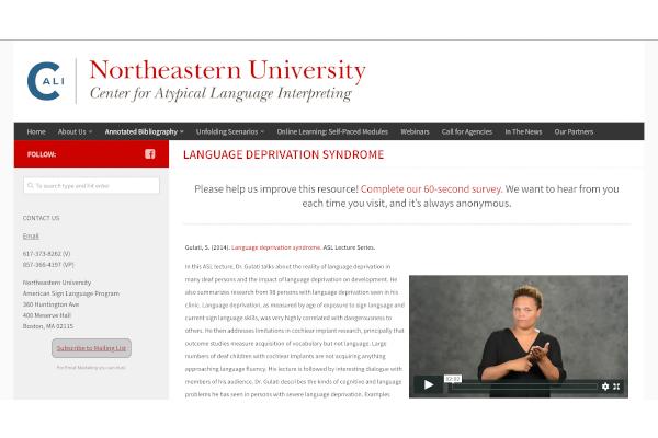 A screen shot of Northeastern University website