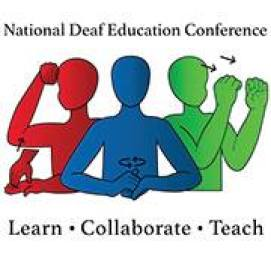 "Logo for National Deaf Education Conference - image of 3 signing graphics Red person signing ""Learn"", Blue person signing ""Collaborate"" and green person signing ""Teach"""