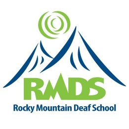 "White logo with blue outlining two mountains and a green sun on top of the mountains. With green text ""RMDS"" on the bottom just above blue text ""Rocky Mountain Deaf School"""