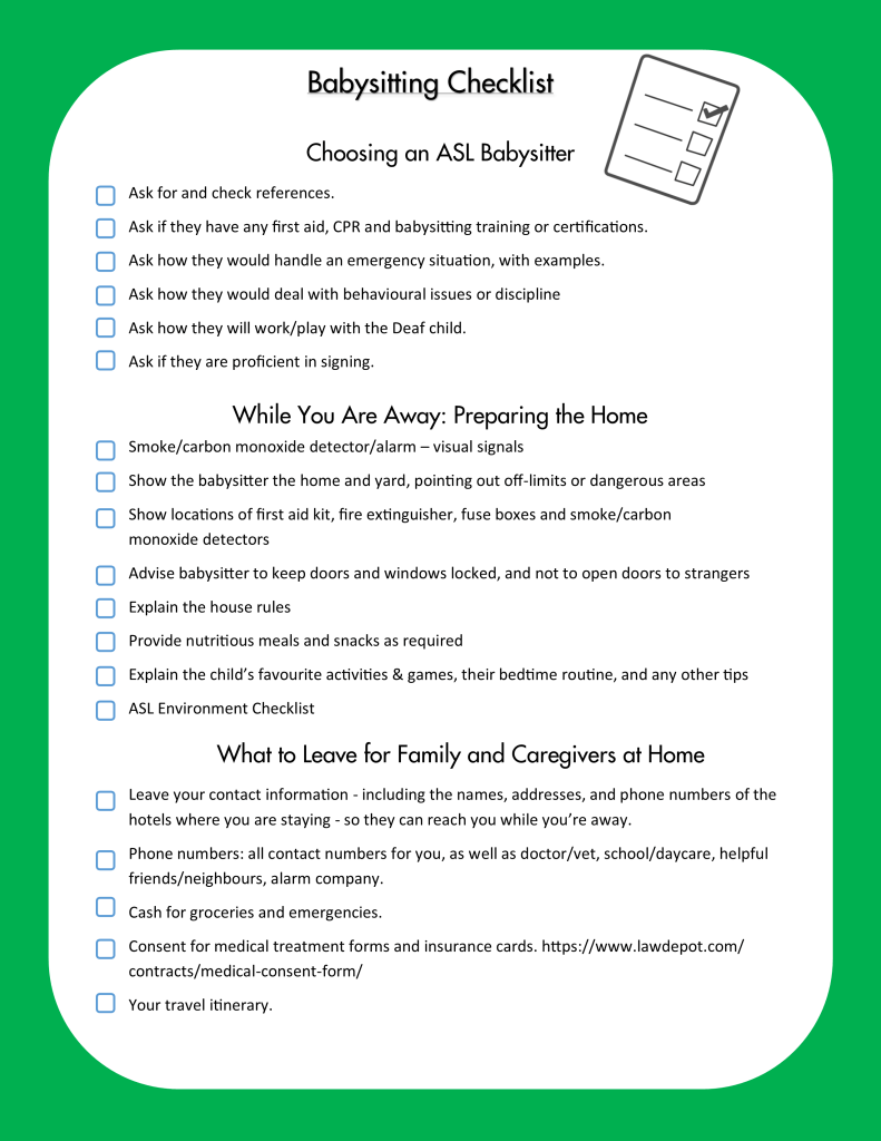 A checklist outlining benefits of an ASL babysitter