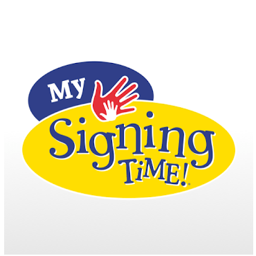 the My signing Time logo of a white hand inside of a larger red hand