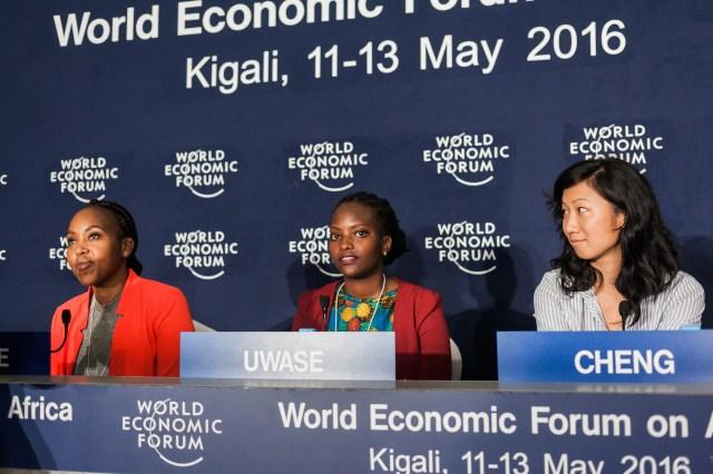 Nneile Nkholise, iMED Tech Group, Bloemfontein, South Africa, Larissa Uwase, CARL GROUP, Kigali, Rwanda and Audrey Cheng, Moringa School, Nairobi, Kenya at the World Economic Forum on Africa 2016 in Kigali, Rwanda. Copyright by World Economic Forum / Benedikt von Loebell