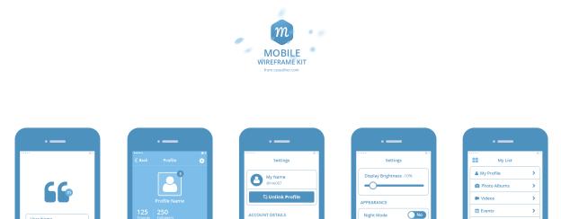 Mobile Wireframe Kit PSD – Freebie