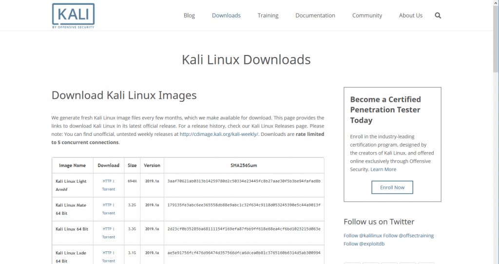 Kali Downloads Page
