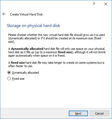 Virtual Box Dynamically Allocated